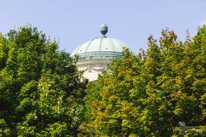 Widok z Parku Arkadia na kopułę Pałacu Królikarnia w otoczeniu zielonych drzew