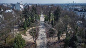 Park Dreszera - widok z góry na symetryczną kompozycje parku