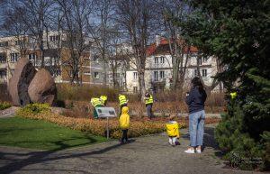 Pracownicy przycinają krzewy w Parku Dreszera, dzieci się przyglądaja, kobieta robi zdjęcia