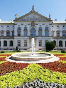 Fontanna przed pałacem w Ogrodzie Krasińskich