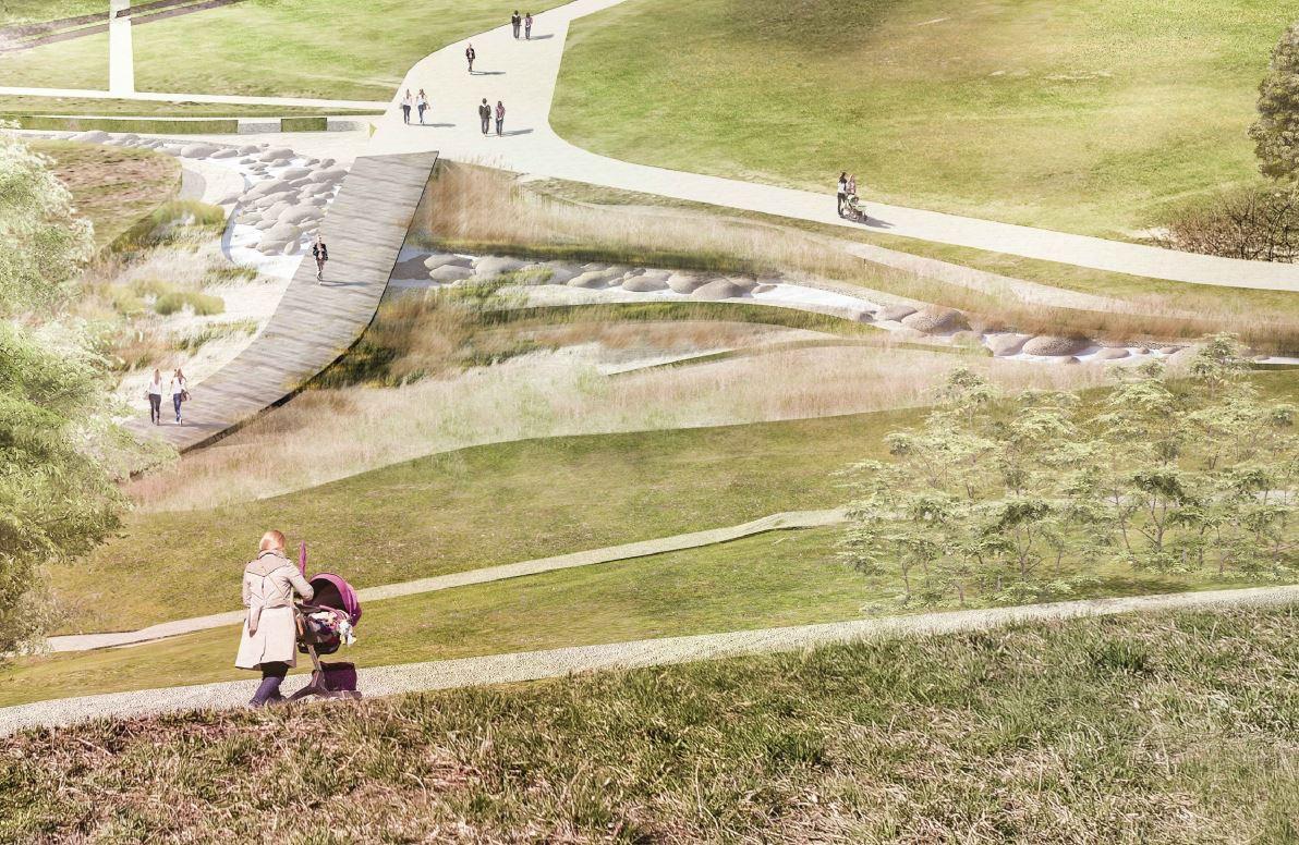 Wizualizacja nowego Parku im. Cichociemnych Spadochroniarzy AK - alejki, po której spacerują mieszkańcy (w tym matka z wózkiem), zieleń, kładka nad ogrodem deszczowym