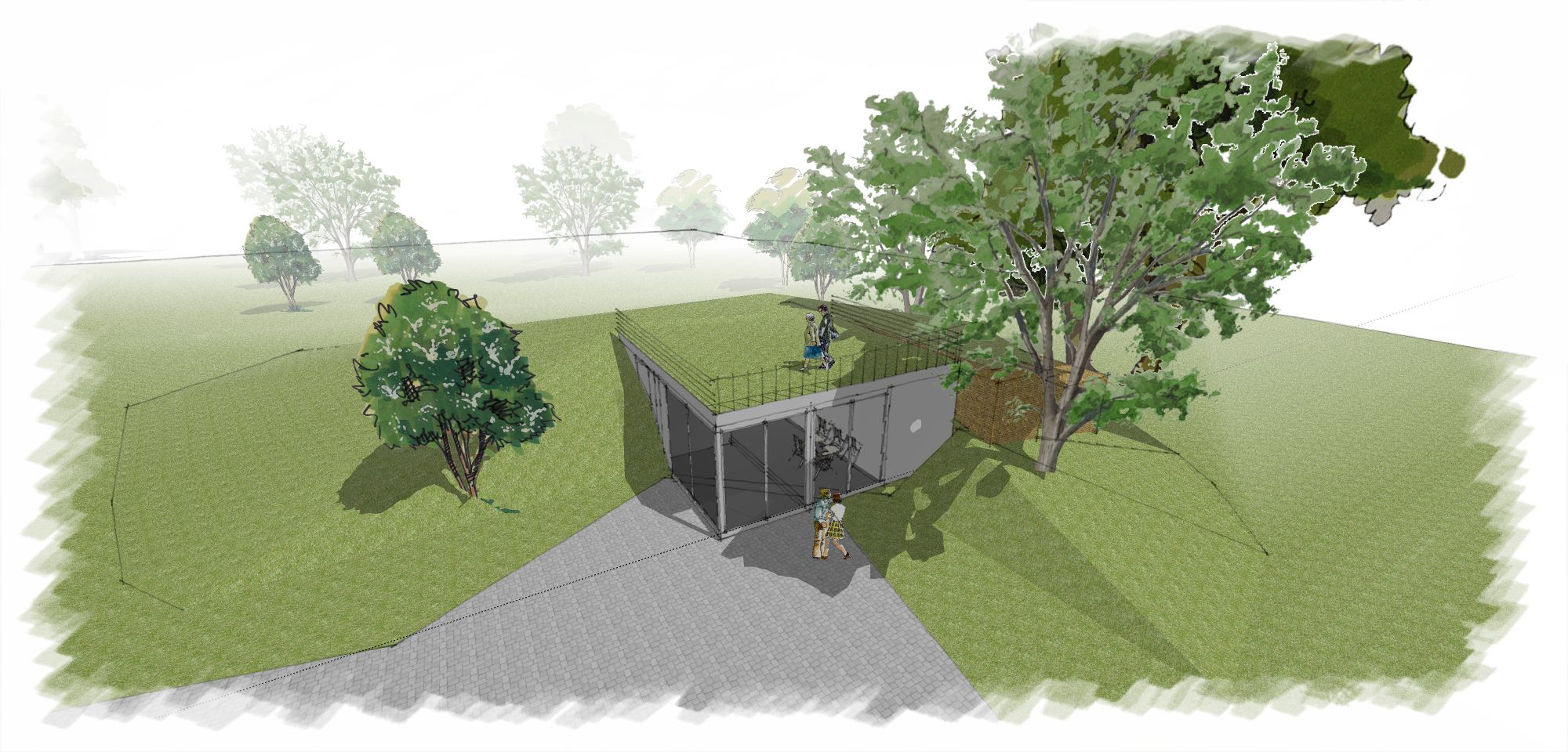 Wizualizacja jednokondygnacyjnego pawilonu na Skwerze Ormiańskim - pawilon z dwóch stron będzie zagłębiony w górkę parkową i otoczony zielenią